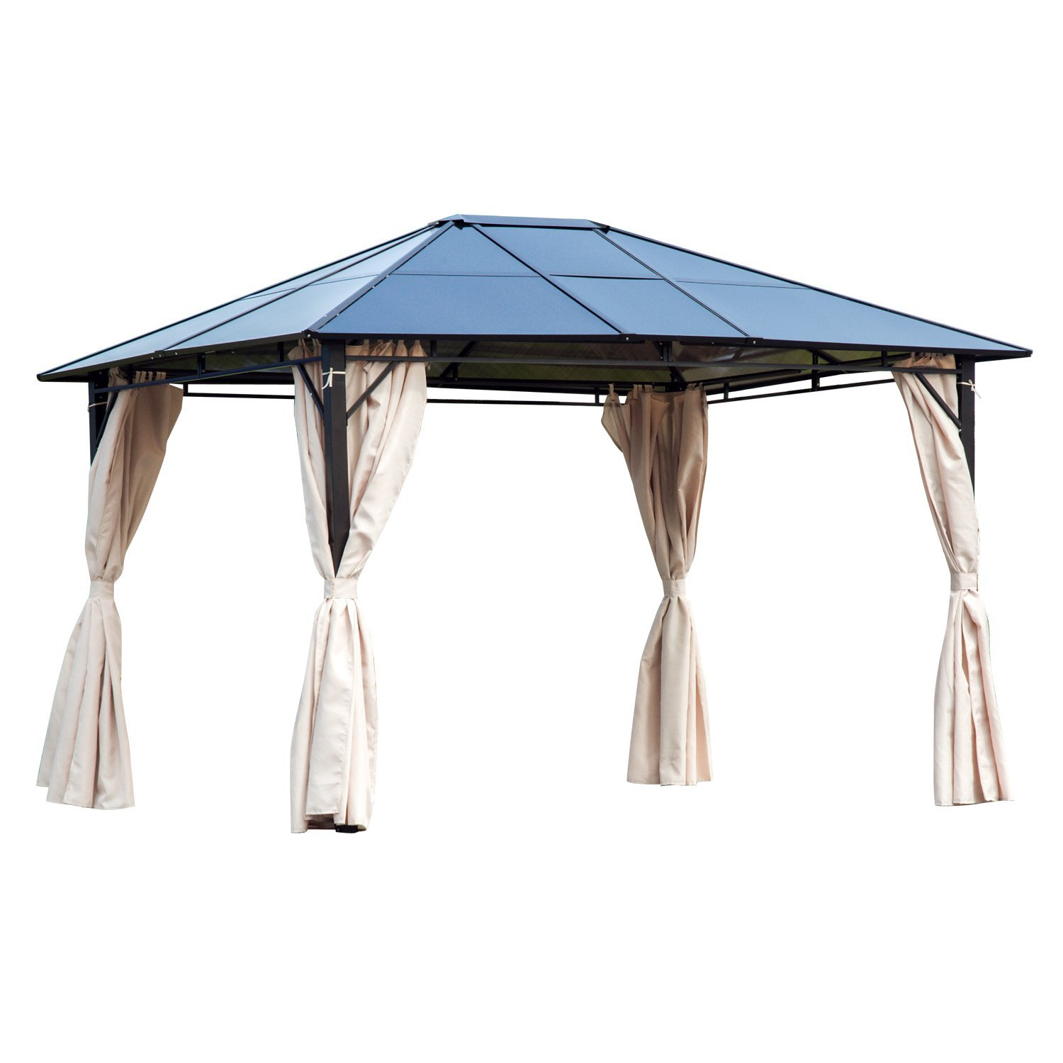 Outsunny 3.6x3m Patio Metal Gazebo W/Side Wall Curtain