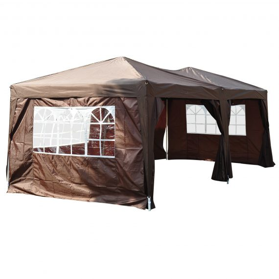 Outsunny Pop Up Gazebo Marquee, size(6m x 3m)-Coffee