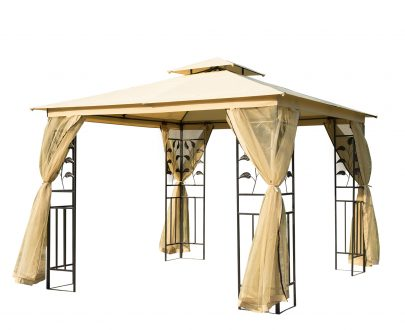 Outsunny 3x3 m Double Top Gazebo-Beige