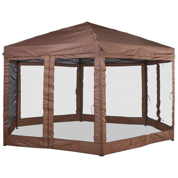 Outsunny 4x4m Garden Gazebo Tent Outdoor Metal Adjustable Sunshade Party Shade w/ Zippered Netting