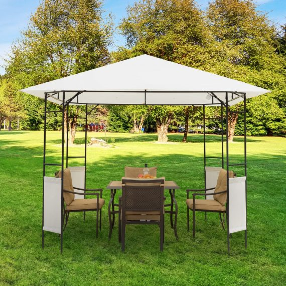 Outsunny Modern Outdoor Gazebo for Garden and Festivals, Patio Party Tent, Wedding Canopy Pavilion Cream-white