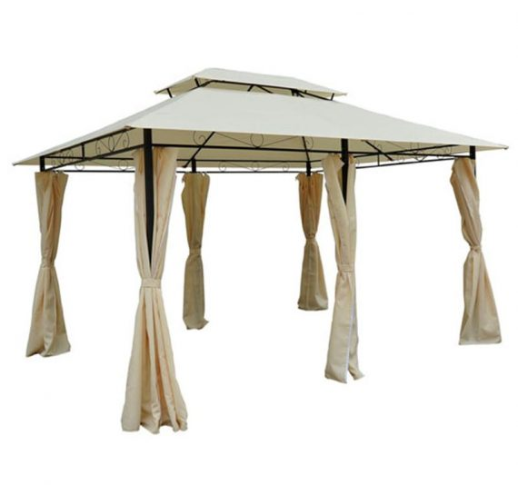 Metal Gazebo with Curtains 4 X 3 Beige Outsunny® 01-0154