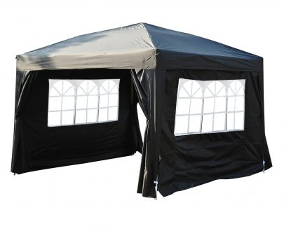 Outsunny 3x3m Pop up Gazebo Marquee-Black Water Resistant Wedding Camping Party Tent+ Free Carry Bag-Black 100110-067BK