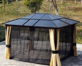Outsunny 3.6m x 3m Outdoor Aluminium Alloy Gazebo w/ LED Solar Lights Beige 84C-177