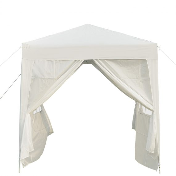 Outsunny 2 x2m Pop Up Gazebo Canopy Party Tent Wedding Awning W/ free Carrying Case White + Removable 2 Walls 2 Windows-White 100110-066W