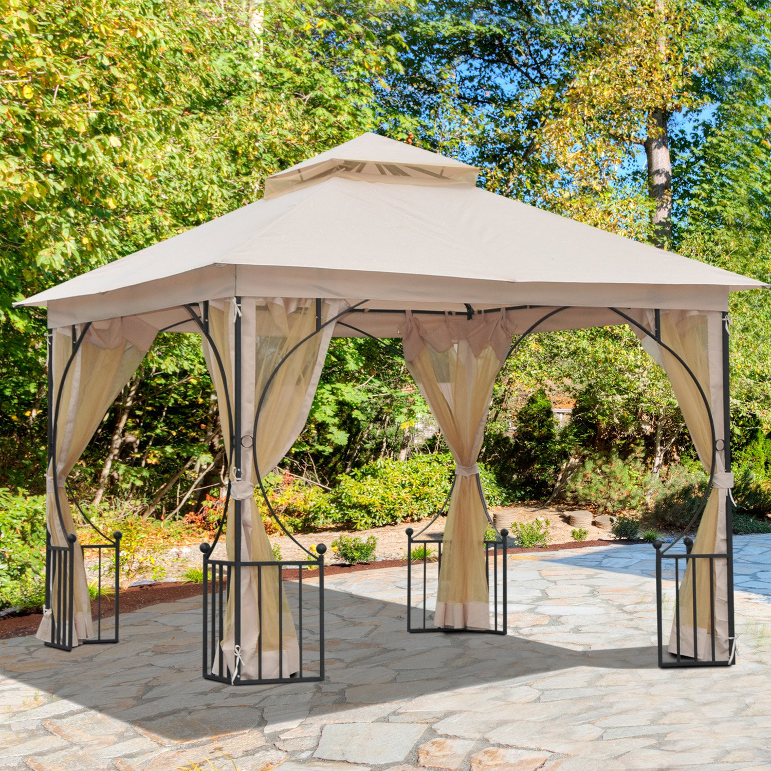 Metal Gazebo With Sides Beige Outsunny 3m X 3m Waterproof
