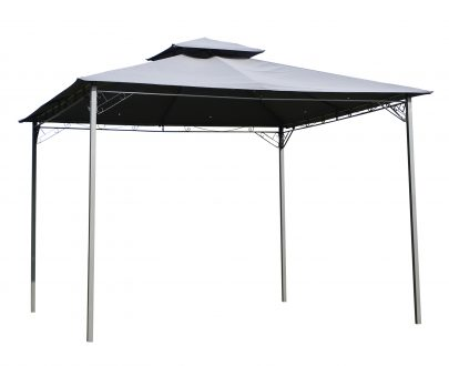 Outsunny 2-Tier Roof Gazebo, 300Lx300Wx264H cm, Steel Frame-Black/Grey 84C-115