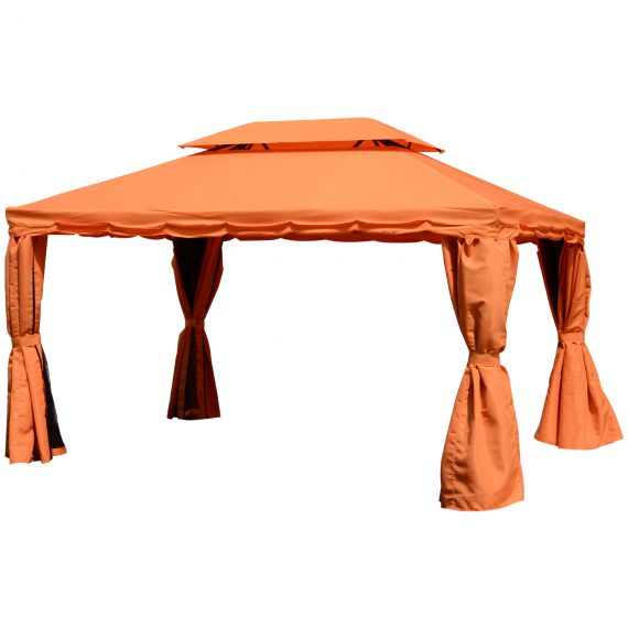 Outsunny 3m x 4m Aluminium Frame Polyester Draped 2-Tier Roof Gazebo Orange 01-0870