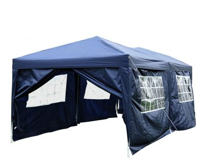 Outsunny 3 x 6m Garden Heavy Duty Water Resistant Pop Up Gazebo Marquee Party Tent Wedding Canopy Awning-Blue 100110-068B