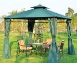 Outsunny 3m x 3m Garden Gazebo w. Metal Frame & Side Walls-Dark Green 01-0878