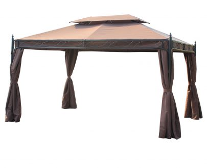 Outsunny 3m x 4m Double Top Gazebo Marquee W/ Sidewalls-Coffee 01-0880