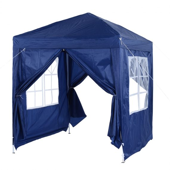 Outsunny 2x2m Garden Pop Up Gazebo Marquee Party Tent Wedding Awning Canopy W/ free Carrying Case + Removable 2 Walls 2 Windows-Blue 100110-066B