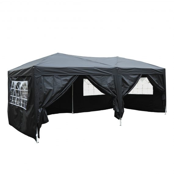 Outsunny 3 x 6m Garden Heavy Duty Pop Up Gazebo Marquee Party Tent Wedding Water Resistant Awning Canopy-Black 100110-068BK