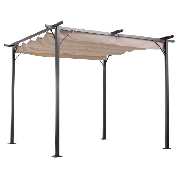 Outsunny Outdoor Steel Pergola Gazebo Porch Awning Retractable Canopy Grape Trellis 84C-093