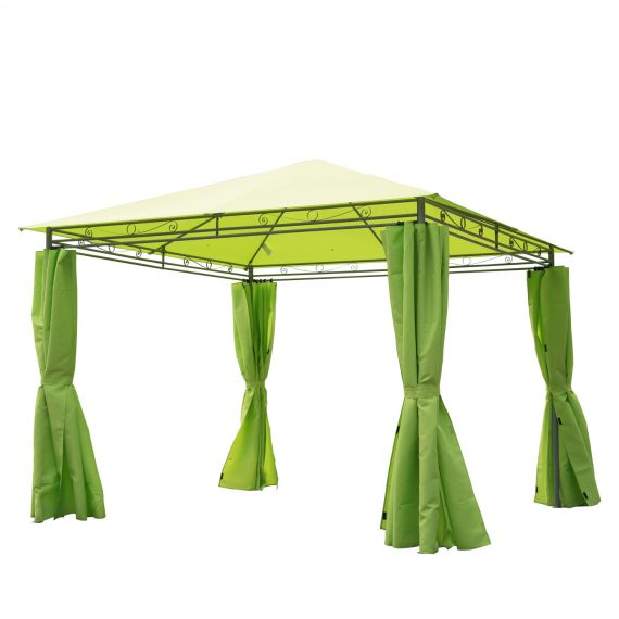 Outsunny 3m x3m Garden Metal Gazebo-Lemon Green 01-0877