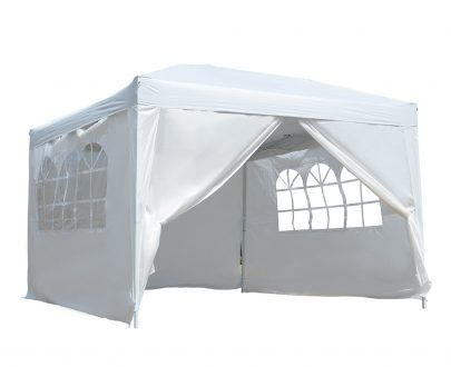 Outsunny 3mx3m Pop Up Gazebo Party Tent Canopy Marquee Waterp Resistant Free Storage Bag White 100110-067W