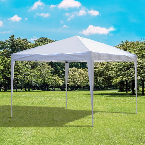 Outsunny 3 x 3 meter Garden Heavy Duty Pop Up Gazebo Marquee Party Tent Folding Wedding Canopy-White 840-158WT