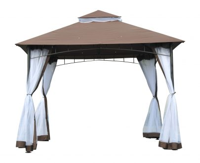 Outsunny 3x3m Gazebo W/Netting-Brown 84C-010CF