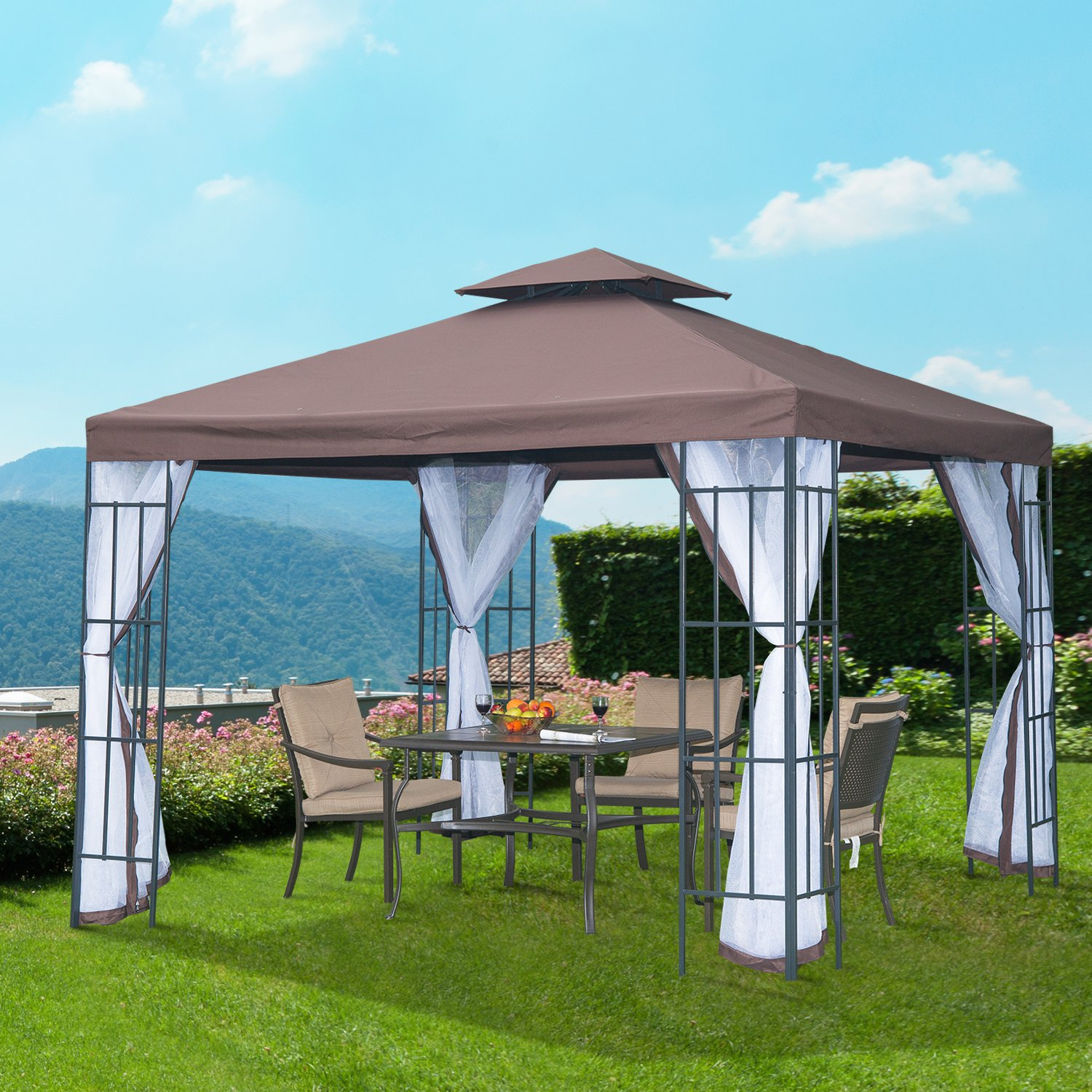 Outsunny 3m x 3m Gazebo Marquee Metal Party Tent Canopy Pavillion Patio Garden Shelter Steel Frame with mesh sidewall and Water strip Coffee 01 0153