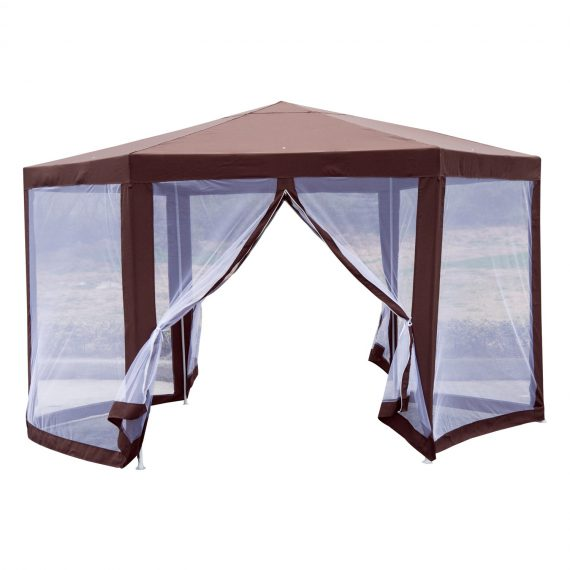 Outsunny Garden Gazebo W/Mosquito Net-Brown 840-169