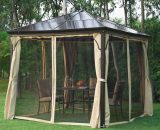 Outsunny 3x3 m Gazebo W/Mosquito Net-Brown/Black/Beige 01-0871