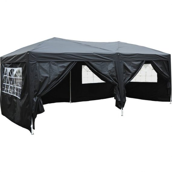 Outsunny 3 x 6m Garden Heavy Duty Pop Up Gazebo Marquee Party Tent Wedding Water Resistant Awning Canopy-Black 100110-068BK 5060265998875