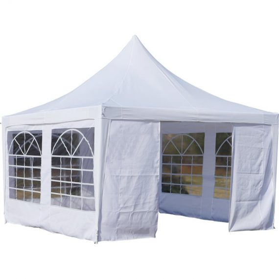 Outsunny 3.6m x 3.6m Raised-Top Cathedral Window Polyester Gazebo White 84C-158 5056029885185