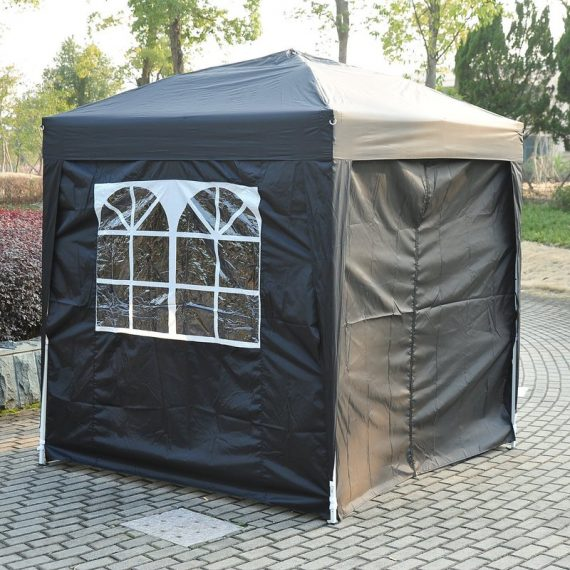Outsunny 2m x 2m Garden Heavy Duty Pop Up Gazebo Marquee Party Tent Wedding Canopy W/Carry Bag Black + Removable 2 windows , 2 doors 100110-066BK 5060348504078