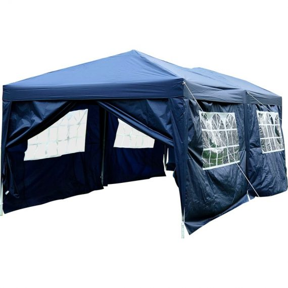 Outsunny 3 x 6m Garden Heavy Duty Water Resistant Pop Up Gazebo Marquee Party Tent Wedding Canopy Awning-Blue 100110-068B 5060265996475