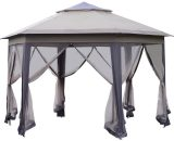 Outsunny 4.05m x 4.05m Metal Frame Mesh Draped 2-Tier Roof Gazebo Brown 84C-120 5056029879238
