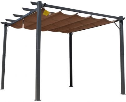 Outsunny Pergola Awning 3x3 m-Brown/Black 84C-054BK 5056029889695