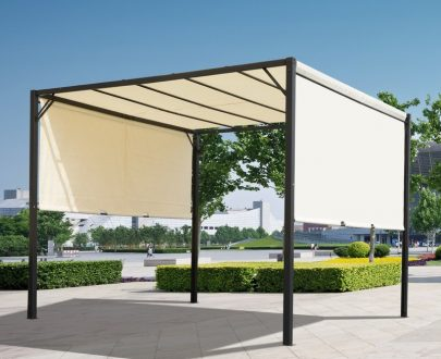 Outsunny Retractable Pergola Canopy, 3Lx3Wx2.3H m-Cream White/Black 84C-063CW 5056029892107
