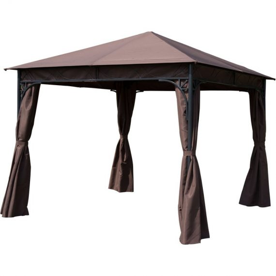 Outsunny 3x3 m Gazebo Pavilion-Coffee 01-0873 5060348505891