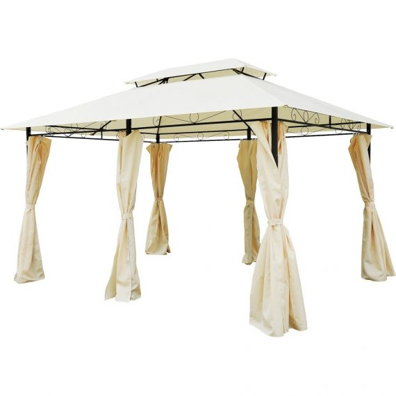 Metal Gazebo with Curtains 4 X 3 Beige Outsunny® (sku:01-0154)