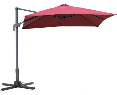 Outsunny Square Patio Parasol Cantilever Sun Umbrella 360° Rotation w/ Cross Base 84D-051WR 5056029826904
