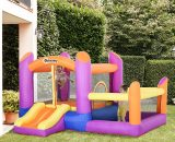 Outsunny Kids Bounce Castle House Inflatable Trampoline Slide Water Pool 3 in 1 with Inflator for Kids Age 3-12 Multi-color 3 x 2.8 x 1.7m 342-020V70 5056399142284