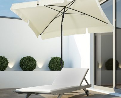 Outsunny Aluminium Sun Umbrella Parasol Patio Garden Tilt 2M x 1.25M Cream White 84D-016CW 5056029847756