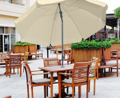 Outsunny 2.2M Tilt Beach Umbrella Parasol-Cream White 84D-039CW 5056029889053