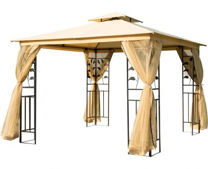 Outsunny 3x3 m Double Top Gazebo-Beige 01-0874 5060348505907