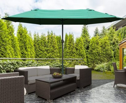 Outsunny 4.6m Garden Parasol Double-Sided Sun Umbrella Patio Market Shelter Canopy Shade Outdoor Dark Green 84D-031V02 5056399148620