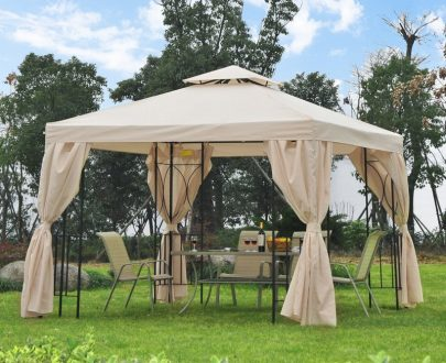 Outsunny 3x3 m Gazebo W/Side Panel-Beige 84C-043CW 5056029891681