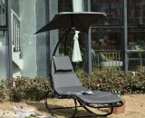Outsunny Patio Rocking Chaise Lounge Rocking Bed with Canopy Cushion Headrest Pillow 84A-179V70 5056399146442