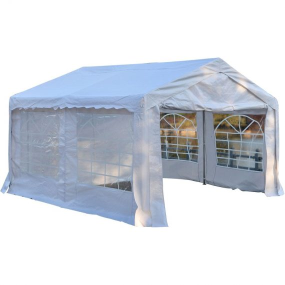 Outsunny Gazebo Marquee Party Tent, Steel Frame, 4x4 m-White 01-0807 5056029856420