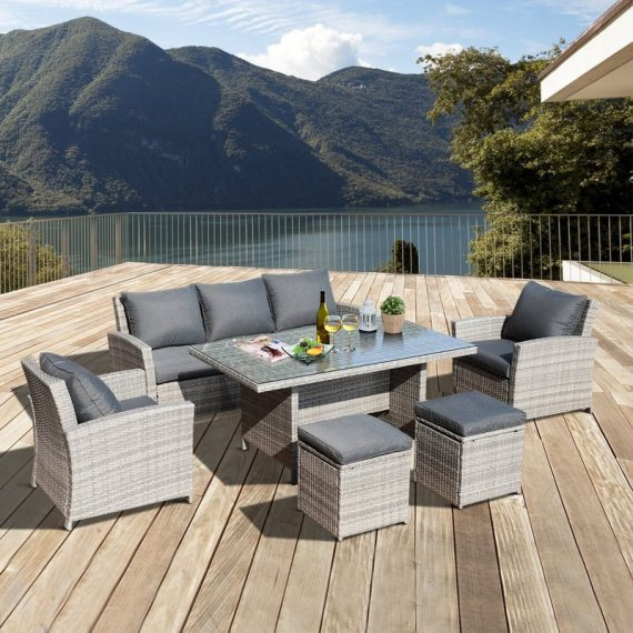Outsunny 6Pcs Rattan Dining Set Sofa Table Footstool Outdoor w/ Cushion Garden Furniture 860-069 5056029834299