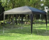 Outsunny 3 x 3 meter Garden Heavy Duty Pop Up Gazebo Marquee Party Tent Folding Wedding Canopy Black UV Protection 840-158BK 5056029894705