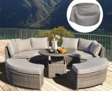 Outsunny 5 Pieces Outdoor PE Rattan Patio Furniture Set Lounge Chair Round Daybed Liftable Coffee Table Conversation Set with Olefin Cushion 860-169 5056399146251