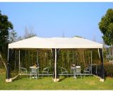Outsunny 3m x 6 m Garden Pop-Up Canopy Marquee w/Mesh Apron-Beige 840-012YL 5055974800762