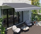 Outsunny 3 x 2.5m Garden Patio Manual Awning Canopy Sun Shade Shelter with Winding Handle, Grey 840-152 5056399147234