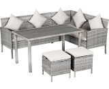 Outsunny 5 Piece Modern Outdoor Patio Rattan Wicker Furniture Patio Dining Table Stool Chaise Lounge Set 860-093V70 5056399103810