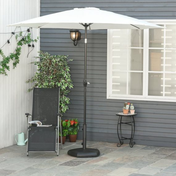 Outsunny Outdoor Umbrella Stand Pentagonal Rolling Base with 2 Wheels, Heavy Duty Fitting Φ34-Φ48mm Umbrella Poles, Concrete Filled, Black 84D-122 5056399145254